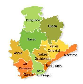 mapa de las localidades de Barcelona